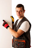Worker points to blank board Stock Image