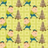Worker porters, seamless pattern Stock Photography