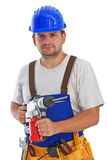 Worker with power drill - isolated. Worker holding power drill - isolated Stock Photos