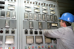 Worker in a power station Stock Photo