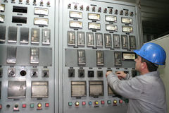 Worker in a power station Royalty Free Stock Image