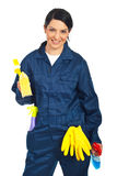 Worker prepared for cleaning houses stock photo