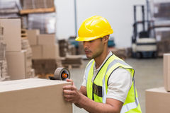 Worker preparing goods for dispatch Royalty Free Stock Photos