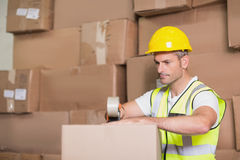 Worker preparing goods for dispatch Royalty Free Stock Photo