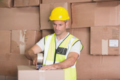 Worker preparing goods for dispatch Stock Photography