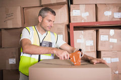 Worker preparing goods for dispatch Royalty Free Stock Photography