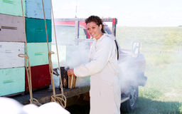 Worker preparing smoke to work in hives Royalty Free Stock Photos