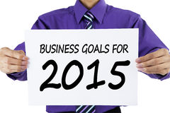 Worker presenting business goals for 2015 Stock Images