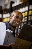 Worker in print shop Royalty Free Stock Photos