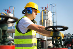 Worker produce oil Stock Image