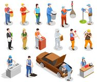 Worker Professions Isometric People. Worker professions including builder, auto mechanic, cook, postman, miner, cashier, garbage collector isometric people Royalty Free Stock Image