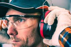 Worker Protection Equipment. Hearing Protectors and Glasses Royalty Free Stock Photos