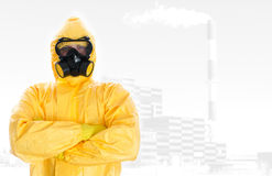 Worker in protective chemical suit. Stock Photography
