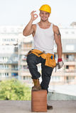 Worker With Protective Gear Showing Ok Sign Stock Image