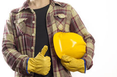 Worker with protective gloves and helmet Royalty Free Stock Photo