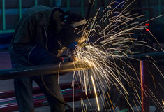 Worker with protective mask welding Royalty Free Stock Photography