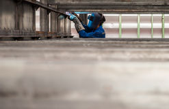 Worker with protective mask welding metal. The Worker with protective mask welding metal Stock Photo