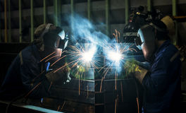Worker with protective mask welding royalty free stock image