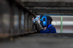 Worker with protective mask royalty free stock photo