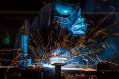 Worker with protective mask welding metal. Welder Industrial automotive part in factory Royalty Free Stock Image