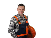 Worker with the pumpkin Stock Image