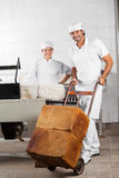 Worker Pushing Bread Loaves On Pushcart While Coworker Smiling. Portrait of confident male worker pushing bread loaves on pushcart while coworker smiling in royalty free stock photos