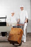 Worker Pushing Bread Loaves On Pushcart While Royalty Free Stock Photo