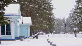 Worker pushing snow thrower during winter blizzard, snowfall in residential area stock video footage