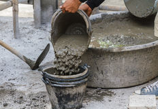 Worker put cement Stock Photography