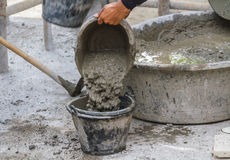 Worker put cement Royalty Free Stock Photo