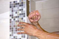 Worker puts tiles Stock Images