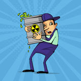 Worker with radioactive substance Royalty Free Stock Photography