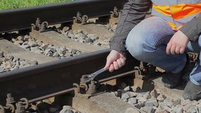 Worker on the railway stock video footage