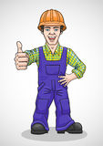 The worker raised his thumb up. Royalty Free Stock Photo