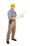 Worker reading blueprint over white background Royalty Free Stock Image