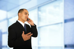 Worker Receive Good News Over The Phone Royalty Free Stock Images