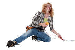 Worker receiving a shock Stock Image