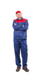 Worker in red-blue workwear. Stock Photo