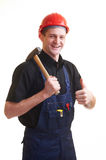 Worker in red hard hat Stock Images