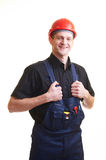 Worker in red hard hat Royalty Free Stock Images