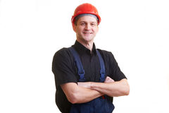 Worker in red hard hat Stock Photos