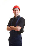Worker in red hard hat Royalty Free Stock Image
