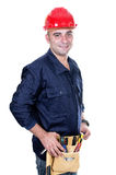 Worker with red helmet Royalty Free Stock Photography