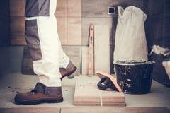 Worker Remodeling Bathroom Royalty Free Stock Photo
