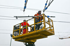 Worker repair the catenary Royalty Free Stock Images