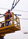 Worker repair the catenary Stock Photography