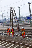 Worker repair the catenary Stock Photos