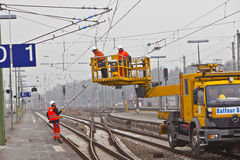 Worker repair the catenary Stock Images
