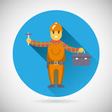 Worker repairer character with hammer toolbox icon Royalty Free Stock Images