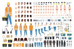Worker or repairer DIY kit. Collection of male cartoon character body parts, facial expressions, gestures, clothes. Working tools isolated on white background royalty free illustration